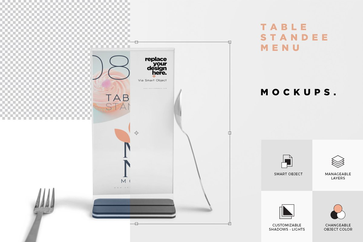 Table Menu Mockups in Product Mockups - product preview 5