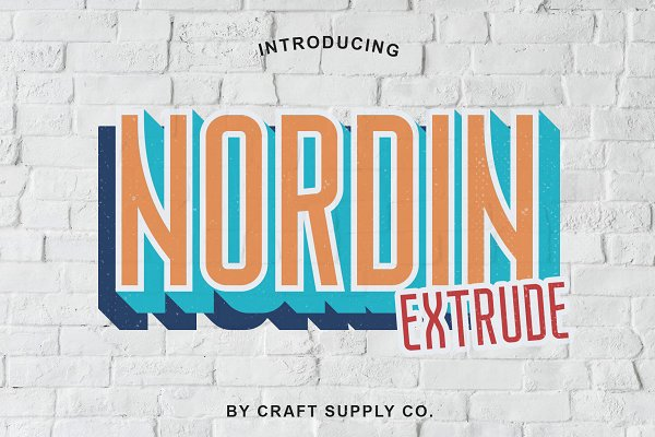 Sans Serif Fonts: Craft Supply Co. - Nordin Extrude Font Family
