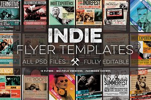 12 Indie Flyers Bundle + FB Covers