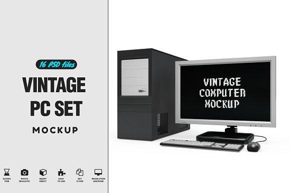 Vintage Computer Set Mock-up in Mobile & Web Mockups - product preview 1
