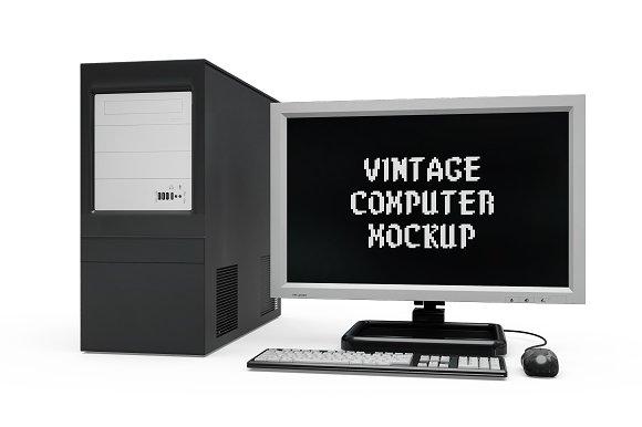Vintage Computer Set Mock-up in Mobile & Web Mockups - product preview 4