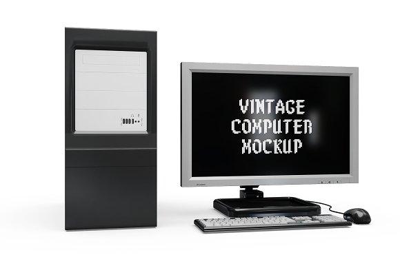 Vintage Computer Set Mock-up in Mobile & Web Mockups - product preview 6