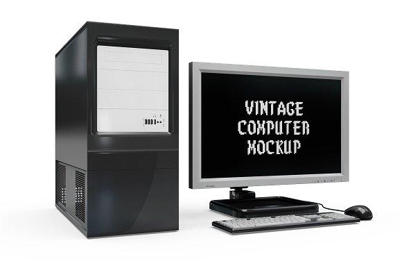 Vintage Computer Set Mock-up in Mobile & Web Mockups - product preview 7