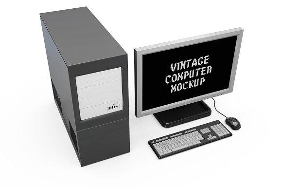 Vintage Computer Set Mock-up in Mobile & Web Mockups - product preview 10