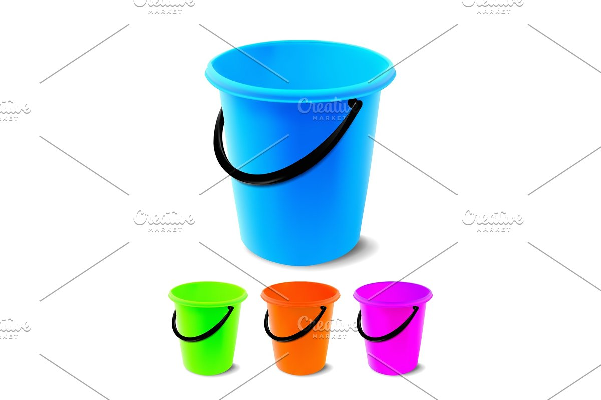 Plastic Bucket Vector. Bucketful