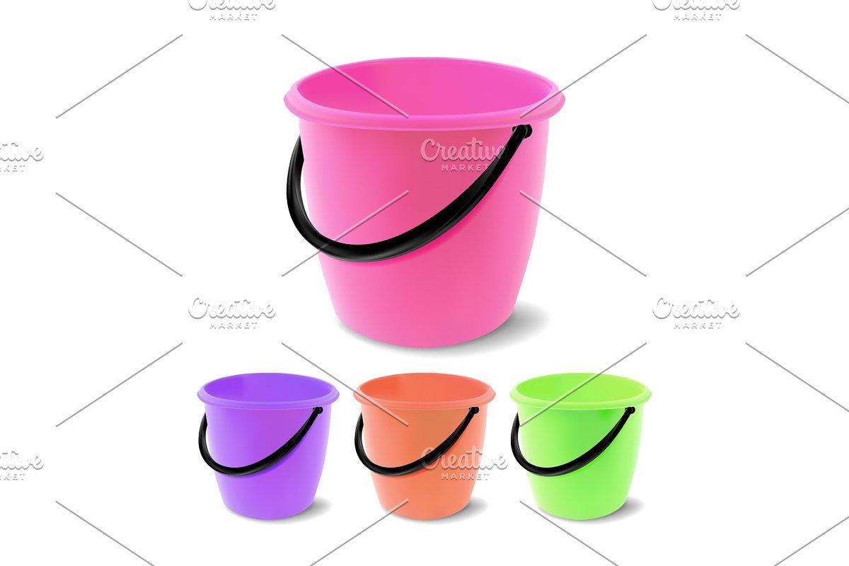 Plastic Bucket Vector. Bucketful