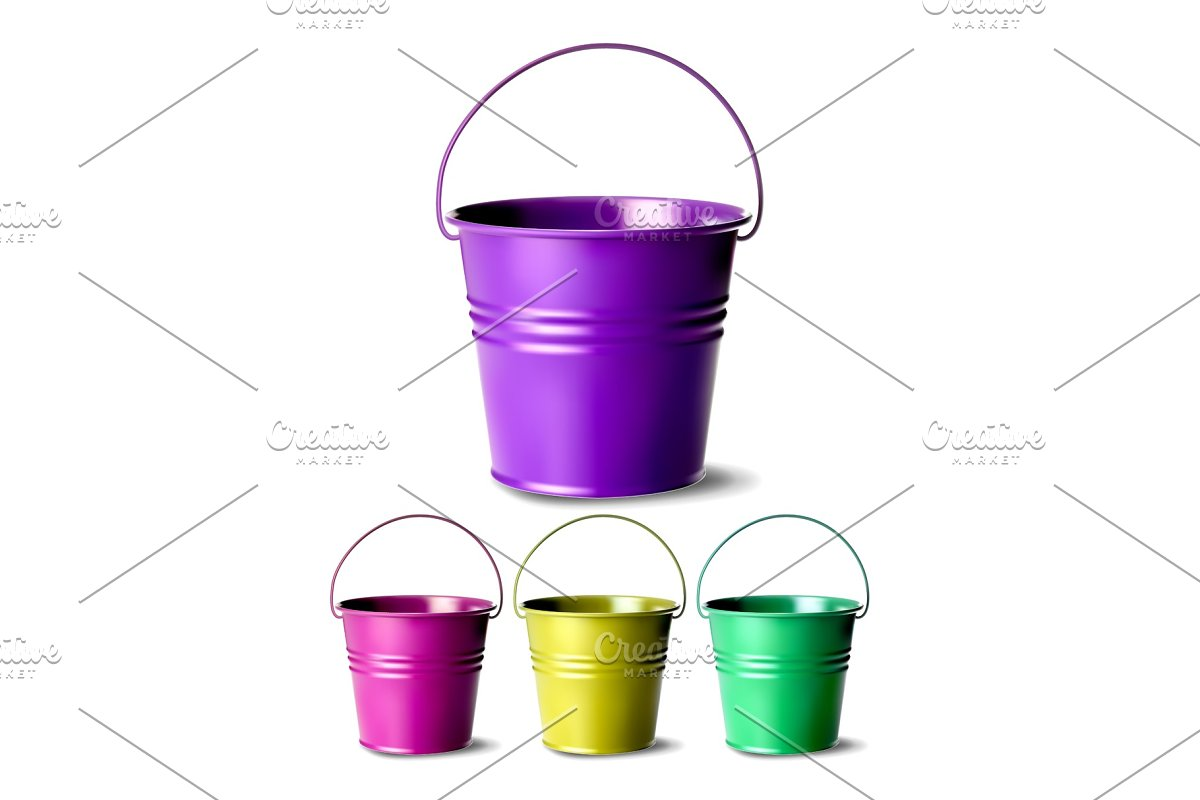Metal Bucket Vector. Bucketful