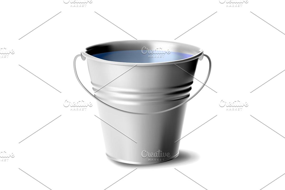 Metal Bucket Full Of Water Vector