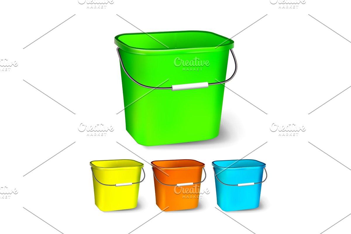 Square Plastic Bucket Vector