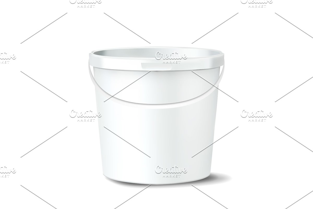 Plastic Bucket Vector. White Claen