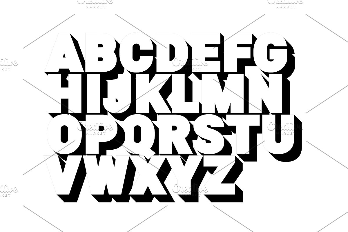 3d font alphabet. Poster style, sans ~ Icons ~ Creative Market