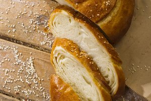 Wheat bread with sesame seeds.