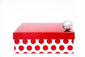 Red box and Christmas ball