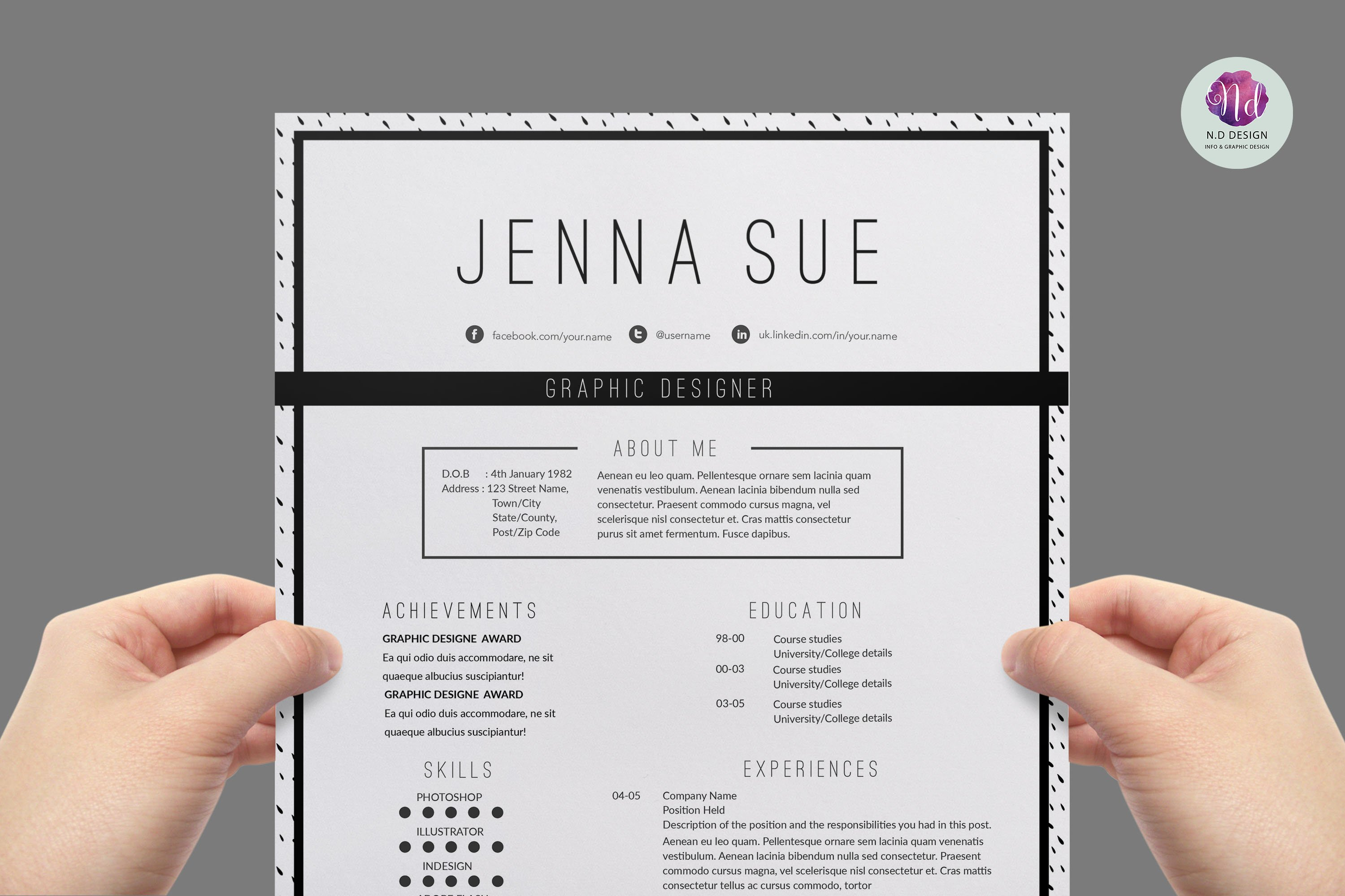 modern page resume template resume templates on creative market modern chic cv template