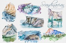 Watercolor Scandinavian Landscapes