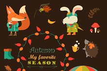 Cartoon characters, autumn elements