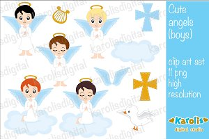 Cute angels - digital clip art set