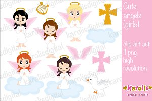Cute angels girls - clip art set