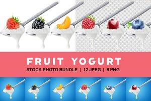 Isolated fruit yogurt on spoon
