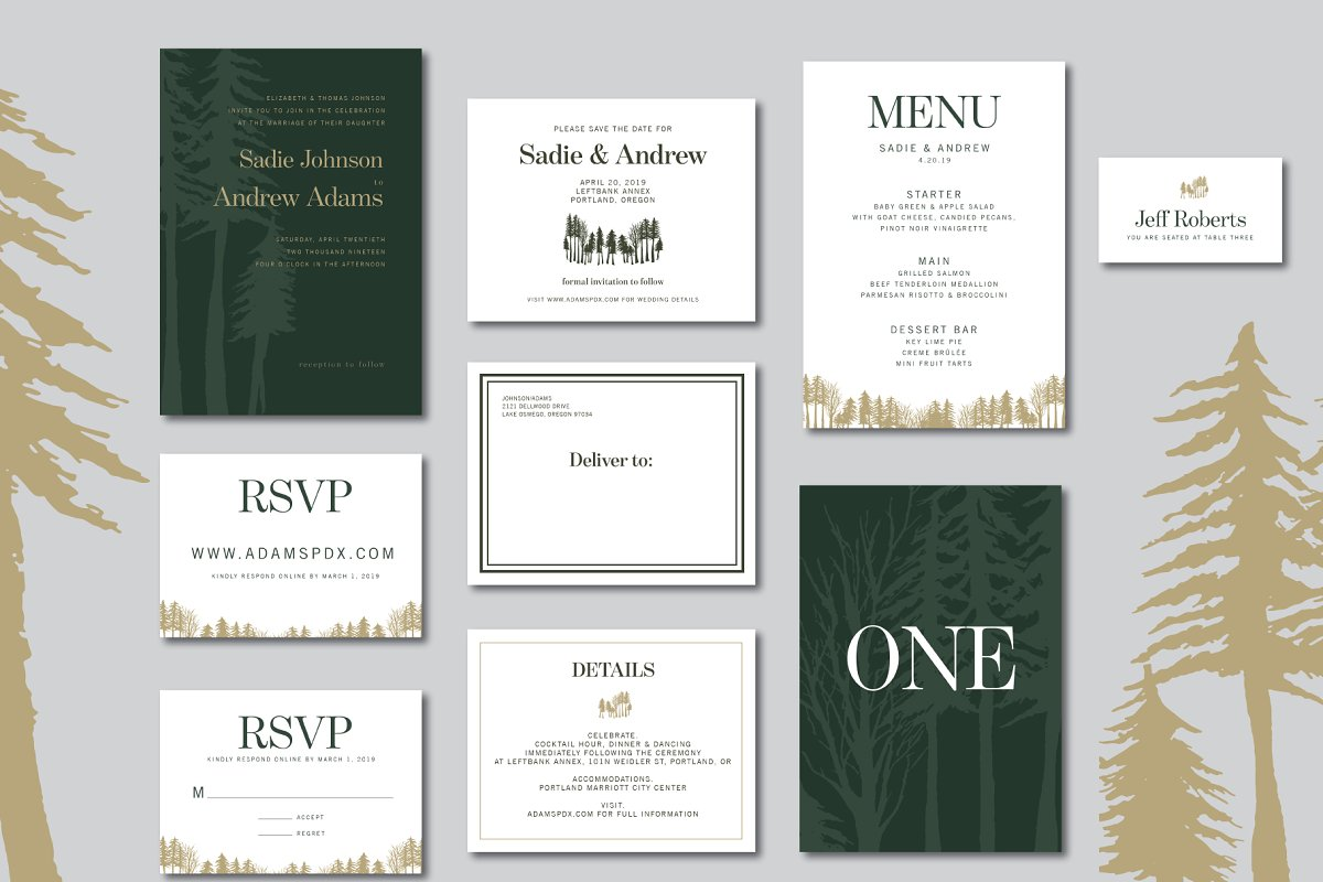 Woodland Wedding Invitation Suite