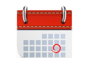 Realistic Isolated Red Calendar Icon
