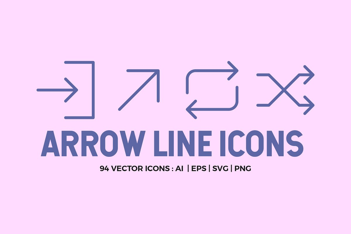94 Arrow Line Icons Pack
