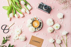 Spring layout with coffee, flowers