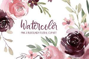 Watercolor Burgundy & Pink Flowers