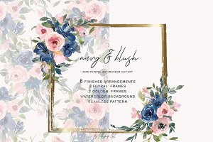 Watercolor Navy and Blush Floral Bou