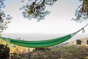 Relaxing on hammock.