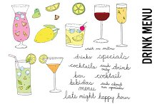 Tropical Drink Menu Doodles Clipart
