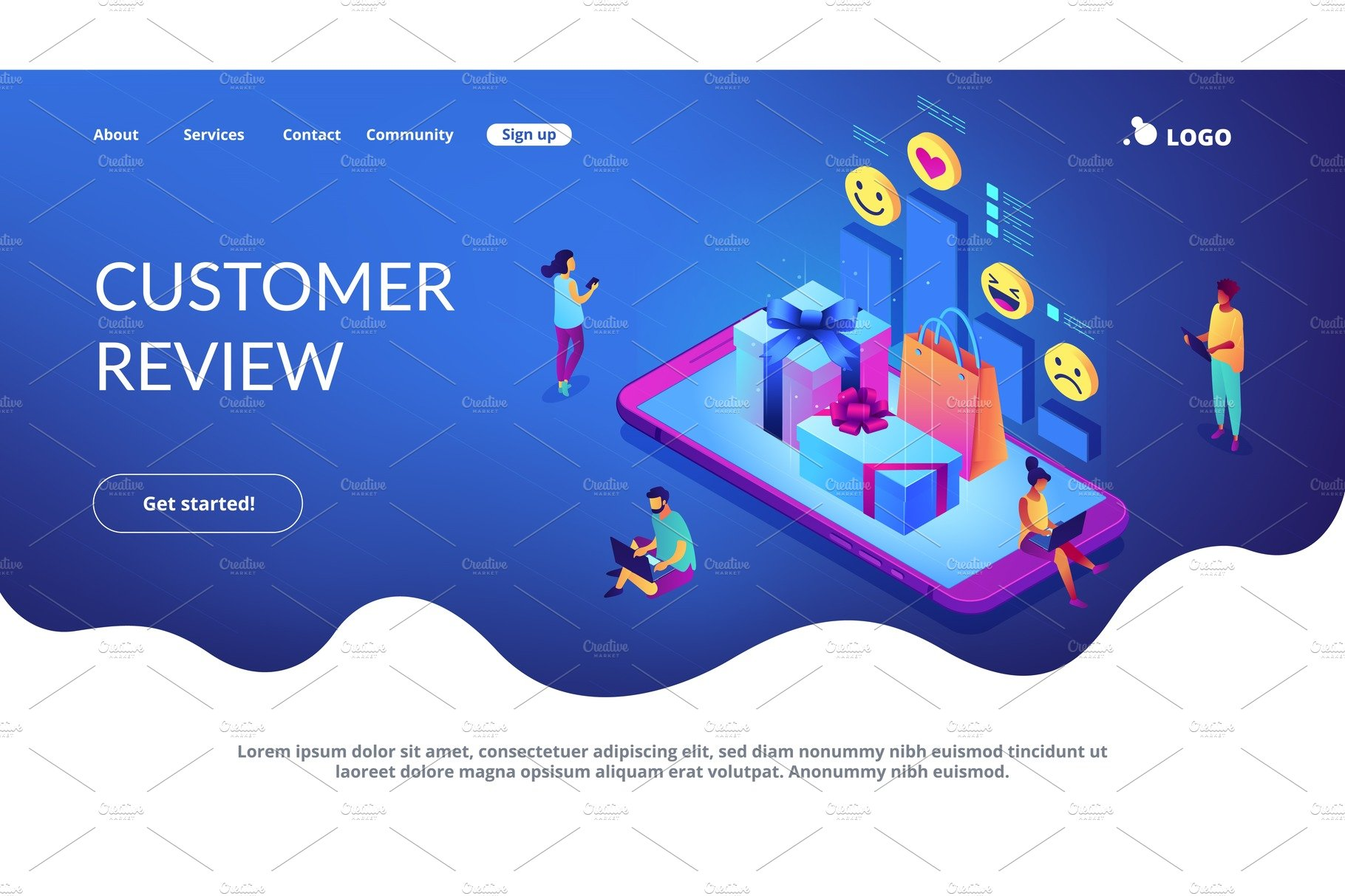 Online gift review isometric 3D
