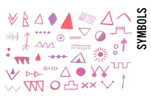 Watercolor Hieroglyphs Symbols