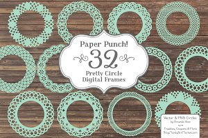 Mint Lace Circle Frames