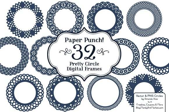 Navy Lace Circle Vector Frames ~ Illustrations ~ Creative Market