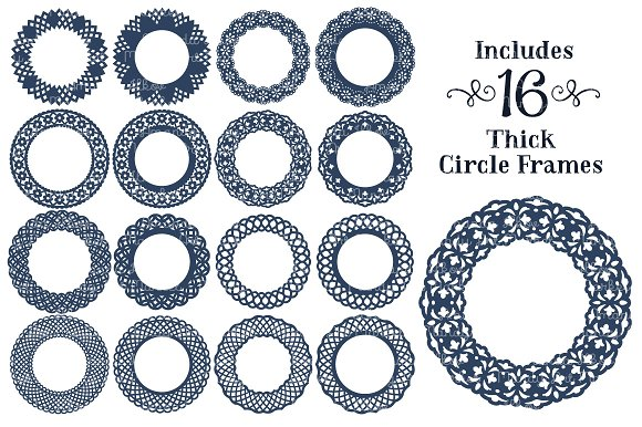 navy lace circle vector frames illustrations on creative market