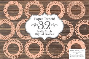 Peach Lace Vector Frames