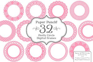 Pink Lace Scrapbook Frame Circles