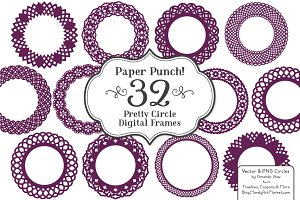 Plum Lace Vector Frames