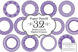 Purple Lace Vector Frames