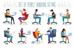 Set of People Working Sitting