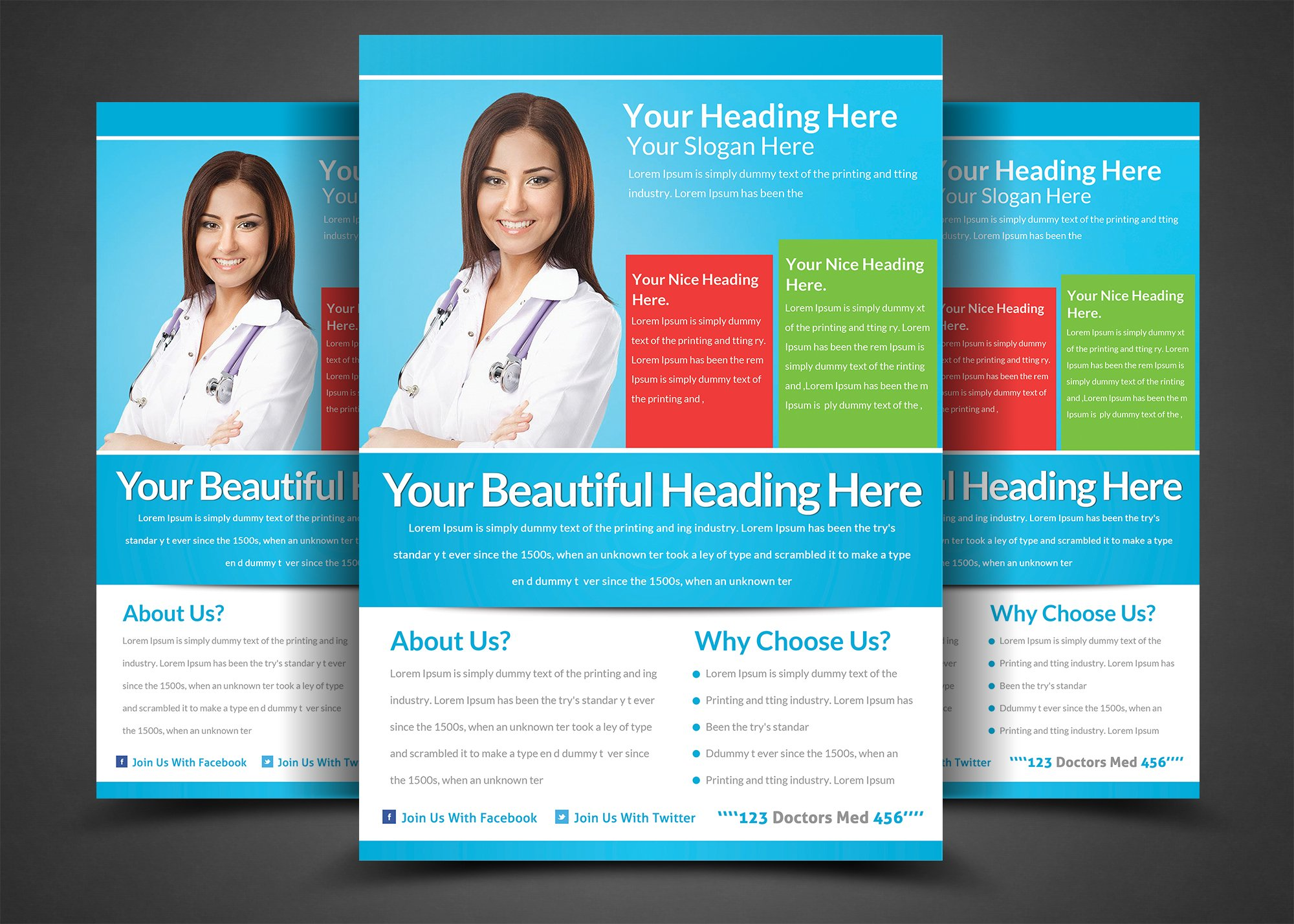 medical doctors flyer template flyer templates creative market