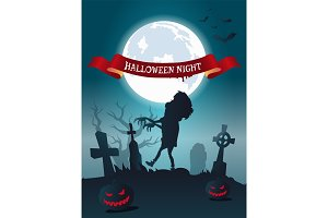 Halloween Night Scary Banner Vector