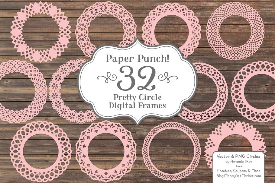 Soft Pink Vector Lace Frames