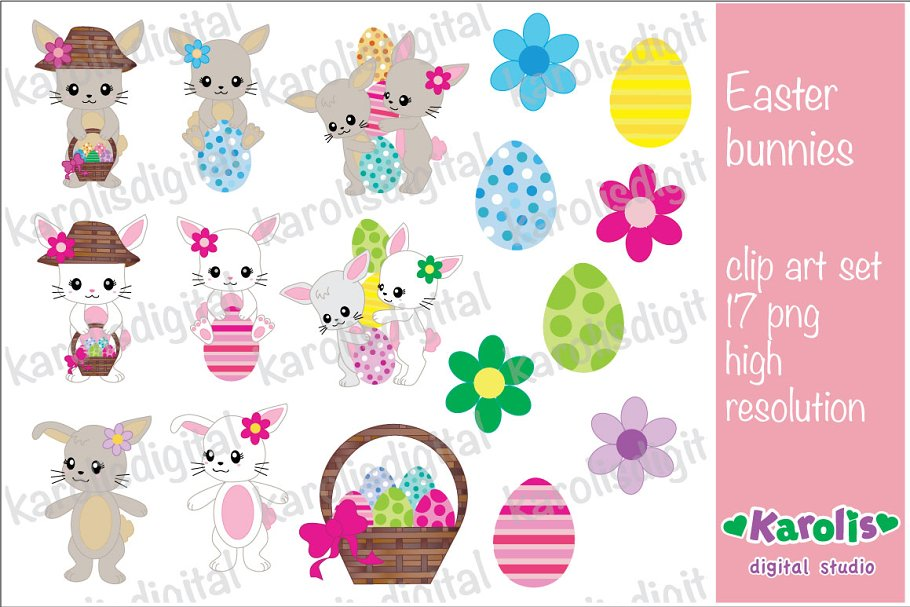 Easter bunnies - clip art set in Illustrations - product preview 8