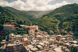 Italian Village Nestled in Mountains