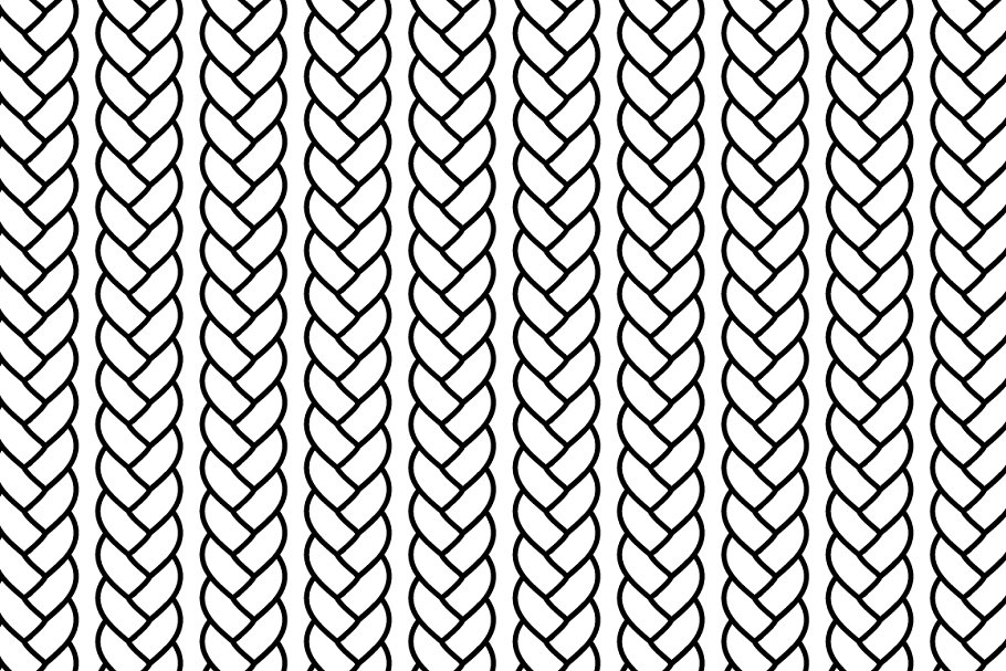 Black and white braided rope pattern