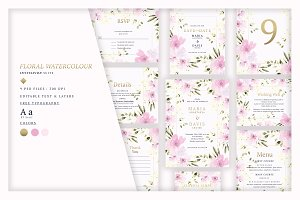 Floral Watercolour Invitation Suite