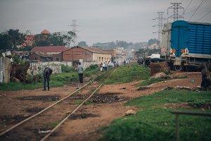 Impoverished Slums over Railroad