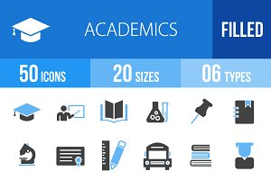 50 Academics Blue & Black Icons